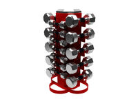 3D render of dumbbells rack Stock Photos