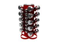 3D render of dumbbells rack Stock Photos