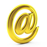 3d render of  e mail on white. 3d render of gold e mail on white Stock Image