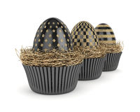3d render with Easter eggs in muffin molds Royalty Free Stock Photos