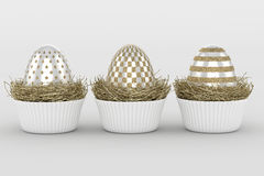 3d render of Easter glitter and pearl eggs Stock Photos