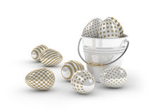 3d render of Easter glitter and pearl eggs and bucket. On white background Royalty Free Stock Photography