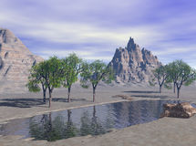 3D Render Fantasy Desert Lake. Daytime Fantasy Desert Lake, computer generated by Bryce. 3D rendered landscape terrain Royalty Free Stock Images
