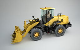 3D render of a frontal loader. On a light surface Royalty Free Stock Images