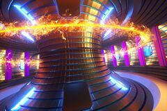 Free 3D Render Fusion Reactor Nuclear Fusion, Tokamak Inside Heated Plasma, Toroidal Shape, Clean Energy. Copy Space Royalty Free Stock Photo - 174904045