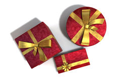 A 3D render of gifts. Three red gifts isolated on white background Stock Photos