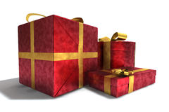 A 3D render of gifts. Three red gifts isolated on white background Stock Photo