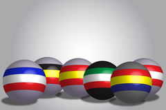 3D render globe flags Stock Photos