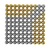 3d render of gold and silver spheres. Isolated on white background vector illustration