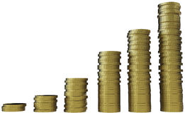 3d render of graph with gold coin currency. Royalty Free Stock Image