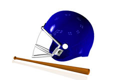3D render helmet with baseball bat Stock Image