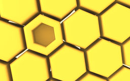 3D render of honeycomb structure. With one different Royalty Free Stock Images