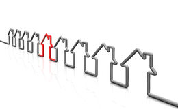 3d render house. Home symbols. Home of the symbols of the economic indicators are made of Stock Images