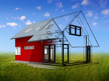 3d render of house. Semitransparent 3d render of house Stock Photos