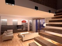 3D render interior. 3D render of image, drawing room interior Royalty Free Stock Photo