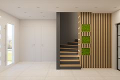 3d Render Interior Design Of A Foyer In A Private Country House Royalty Free Stock Photo