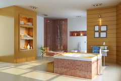 3d render interior of modern bathroom Stock Image