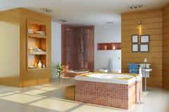3d render interior of modern bathroom Stock Image