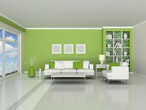 3d render interior of the modern room. Green wall and white sofas Stock Photo