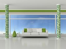 3d render interior of the modern room. Green wall and white sofa Royalty Free Stock Photo