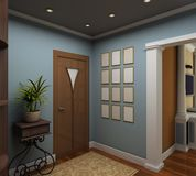 3D render  interior of vestibule Royalty Free Stock Image