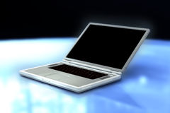 A 3D render of a laptop. Overview of the portable computer on blue and black background Royalty Free Stock Images