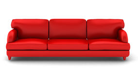 3d render of  leather sofa on white. 3d render of red leather sofa on white Stock Images