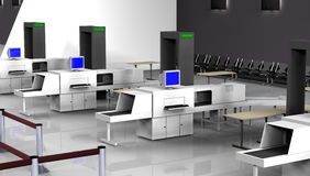3d Render of luggage scan. Luggage scan checkpoint. Digital image Stock Photos