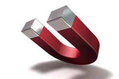A 3D render of a magnet. Red magnet tilt on white background Royalty Free Stock Photography