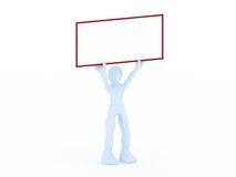 3D render of a man holding a blank sign. 3D render of a man holding blank sign Royalty Free Illustration