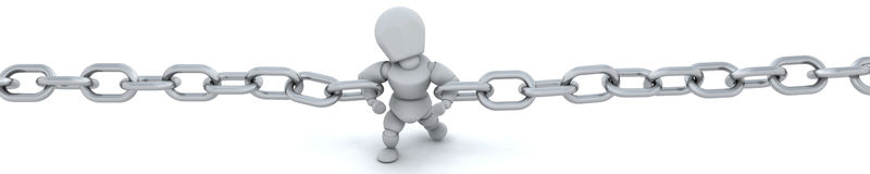 3d render of man holding chain together Stock Photo
