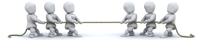 3d render of man pulling on rope Royalty Free Stock Images
