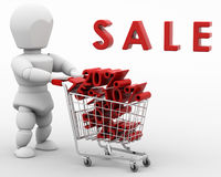 3D render of a man shopping in the sale Stock Photo