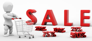 3D render of a man shopping in the sale Stock Images