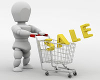 3D render of a man shopping in the sale Stock Photography