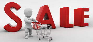 3D render of a man shopping in the sale Royalty Free Stock Images