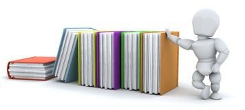 3d render of man and stack of books Royalty Free Stock Photography