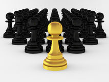 3d render of many pawns. On white Royalty Free Stock Images