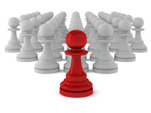 3d render of many pawns. On white Stock Photo