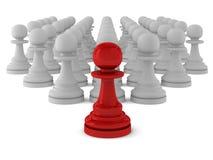 3d render of many pawns. On white Stock Illustration
