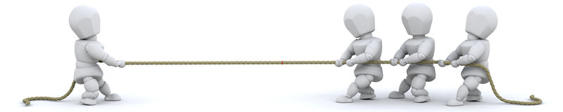 3d render of men pulling on rope. 3d render of men pulling on a rope Royalty Free Stock Photos