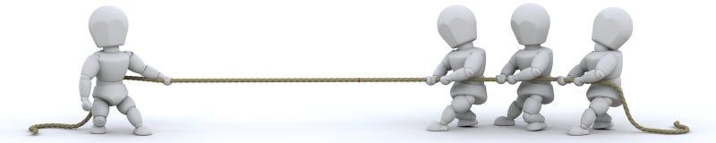 3d render of men pulling on rope. 3d render of men pulling on a rope Royalty Free Stock Images