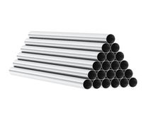 3d render of metal tubes. On white Stock Photography