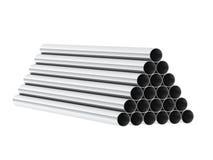 3d render of metal tubes. On white Vector Illustration
