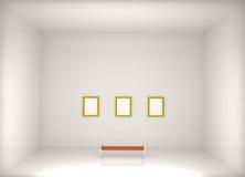 3d render modern art gallery. 3d illustration Royalty Free Stock Photography