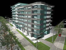 3d render of modern building Royalty Free Stock Photo