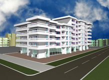 3d render of modern building Royalty Free Stock Image