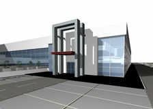 3D render of a modern building. Exterior isolated over white background, more photos in portfolio, copy space Vector Illustration