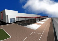 3D render of modern building. Exterior isolated with blue sky and white clouds Stock Images