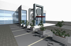 3D render of modern building. Exterior isolated over white background Royalty Free Illustration